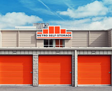 [photo] Three storage units in a row with the logo of Metro Self-Storage above them.